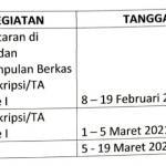 Jadwal Proses Ujian Skripsi Gel. 1 TA. Genap 2020/2021
