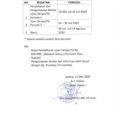 Pengumuman Jadwal dan Pelaksanaan Skripsi dan Tugas Akhir. Genap TA. 2019/2020