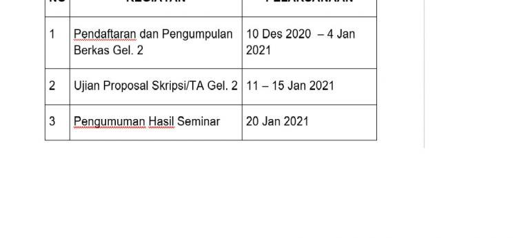 JADWAL PROPOSAL SKRIPSI/TA GELOMBANG 2 GASAL TA. 2020/2021